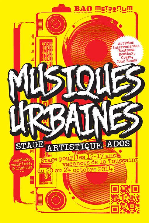 Stage musiques urbaines ROCK THE CASBAH pour ados - Toussaint 2014 au Metronum à Toulouse