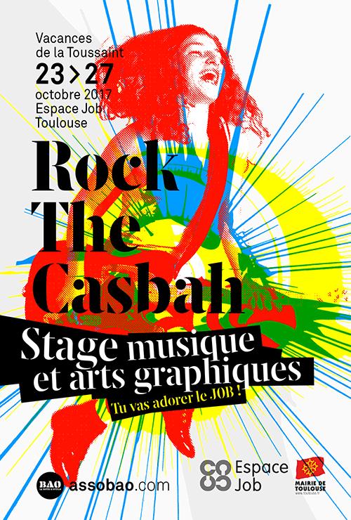 Flyer du stage de musique et sérigraphie ados Rock The Casbah de la Toussaint 2017